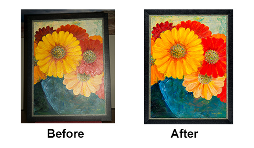 Artwork shot without and with specialized lighting
